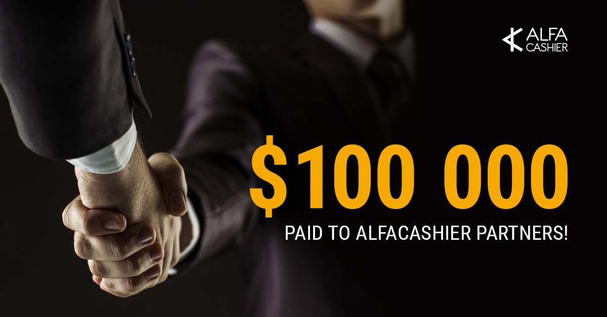 $100 000 has been paid through affiliate program on ALFAcashier!