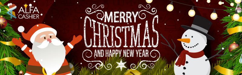 Merry Christmas and Happy New Year congratulations from ALFAcashier team!