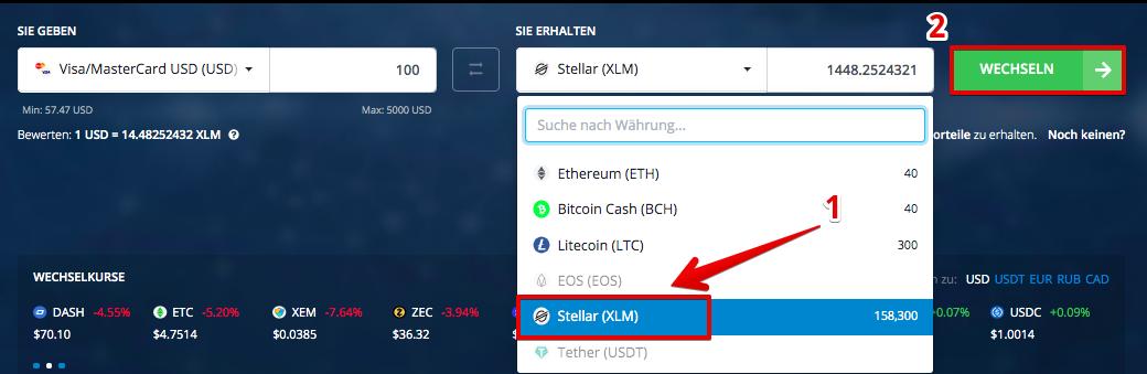 Wie kaufe ich Stellar (XLM) mit Visa/Mastercard-Kreditkarte2