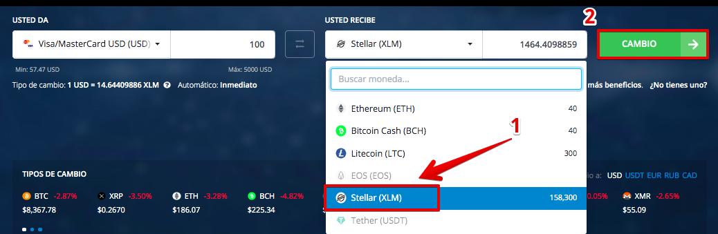 Cómo comprar Stellar (XLM)  con una Tarjeta de Crédito (Visa/Mastercard)2