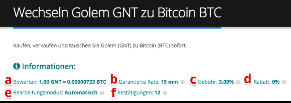Wie verkauft man Golem (GNT)