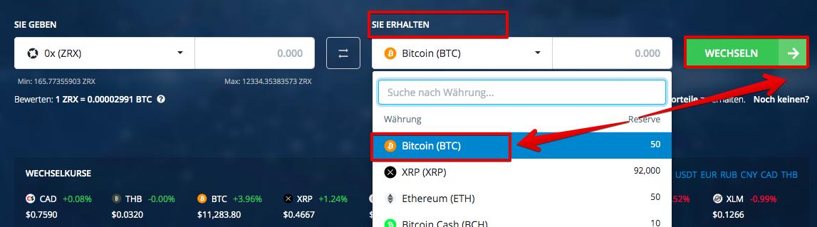 Wie verkauft man 0x (ZRX)